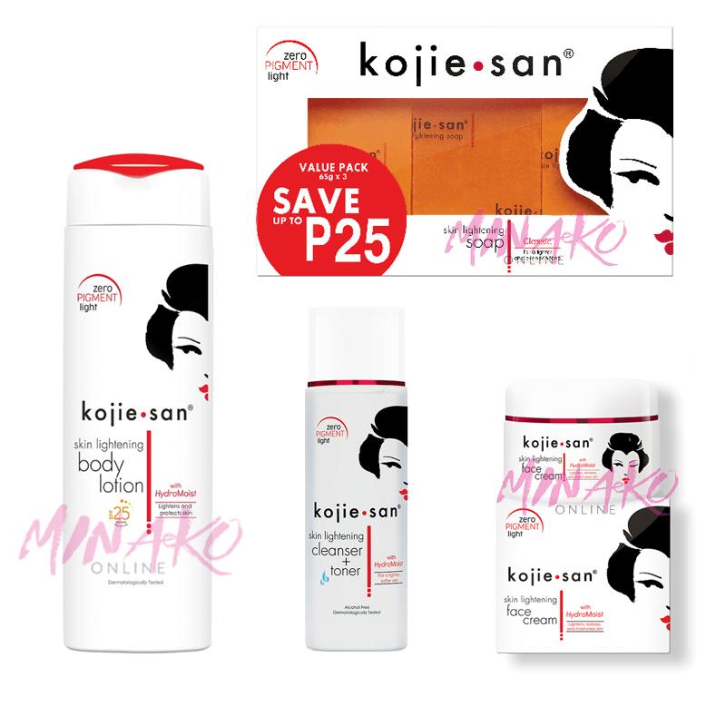 Kojie San Premium Total Skin Lightening Set - Soap, Lotion, Cream & Toner
