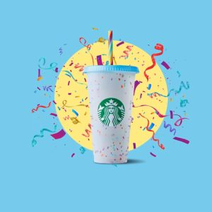 Starbucks Colour Changing Confetti Cup with Rainbow Straw 2
