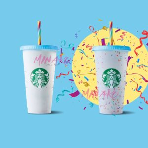 Starbucks Colour Changing Confetti Cup with Rainbow Straw