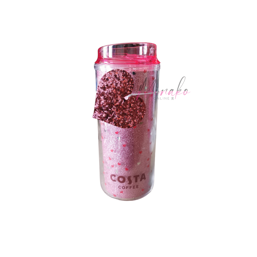 Costa Coffee Valentines Hearts Pink Glitter Cup (450 ml)