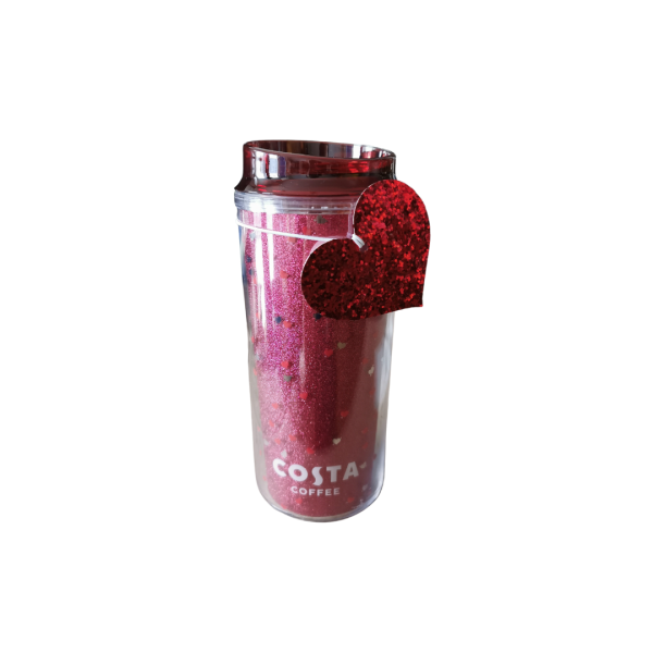 Costa Coffee Valentines Hearts Red Glitter Cup (450 ml)