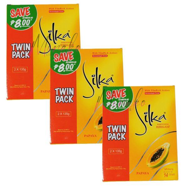 3 x Silka Whitening Herbal Soap Orange Papaya Double Pack (6 x 135g)